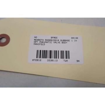 NEW Canada Canada REXROTH R432015310 SUBBASE 1 IN NPT PNEUMATIC VALVE BODY MANIFOLD D538113