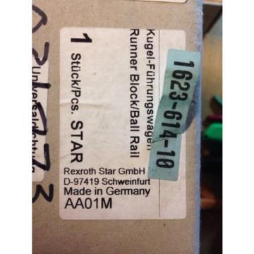 Deutsche Canada Mexico Star Rexroth Runner Block Ball Bearing 1623-614-10, D-97419 Rack E #E3