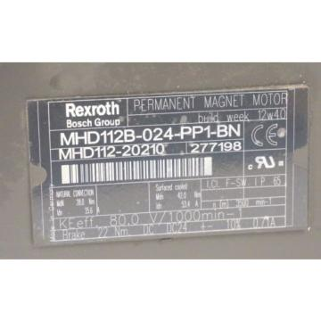 BOSCH Greece Korea REXROTH MHD112B-024-PP1-BN SERVO MOTOR 277198, MHD112-20210 REPAIRED