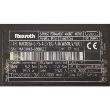 NEW Canada china REXROTH MAC093A-0-PS-4-C/130-A-0/WI518LV/S001 SERVO MOTOR R911246304