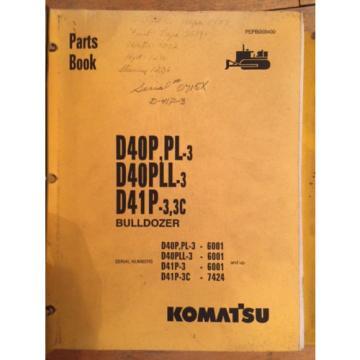 Komatsu D40P PL-3 D40PLL-3 D41P-3 Crawler Tractor Dozer Parts Catalog Manual
