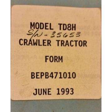Dressta Komatsu Dresser TD8H Crawler Tractor Dozer PARTS BOOK Manual BEPB471010