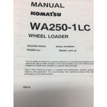KOMATSU WA250-1LC Wheel Loader Shop Manual / Service Repair Maintenance