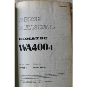 Komatsu WA400-1 Wheel Loader Service Repair Shop Manual 10001 & Up OEM DEALER