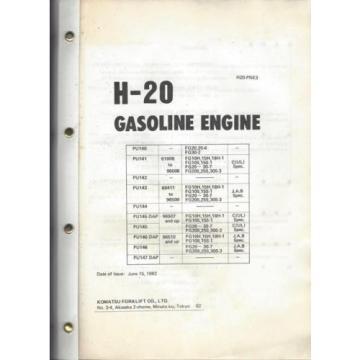 Komatsu H-20 Gasoline Engine Parts Book, H20-PNE3, 15 June 1982