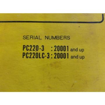 Komatsu PC220-3, PC220LC-3 Hydraulic Excavator Parts Book  PEPB02060300