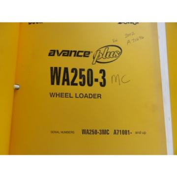 Komatsu WA250-3MC Parts and Operation and Maintenance Manuals