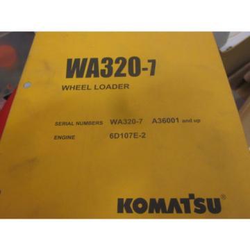 Komatsu WA320-7 Wheel Loader Parts Book Manual s/n A36001 & Up