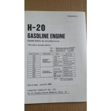 KOMATSU FORKLIFT PARTS BOOK H-20 GAS ENGINE
