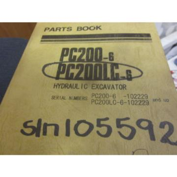 Komatsu PC200-6 PC200LC-6 Hydraulic Excavator Parts Book Manual s/n 102229 Up