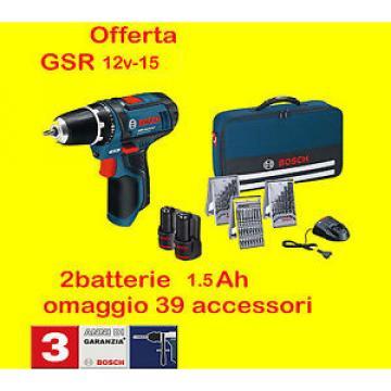 BOSCH trapano Avvitatore Batteria GSR 12v-15 2 x 1,5ah +BORSA+39 ACCESSORI