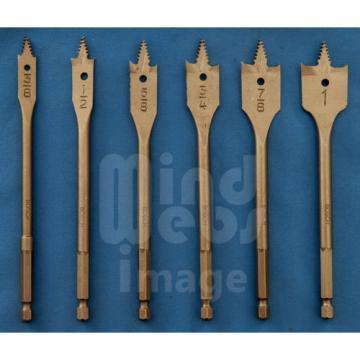 BOSCH 6pc Self Cut Spade Flat Wood Drill Bit Set in Fabric Case