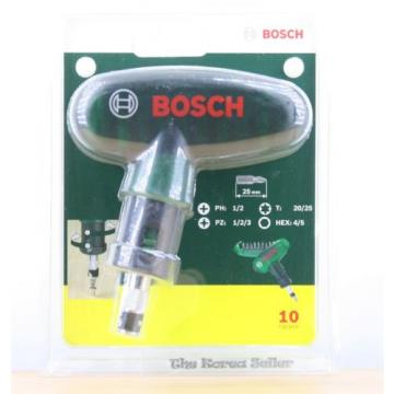 Genuine Bosch T-shaped Screwdriver 10 Piece Set - 9 pcs bits housed in the body