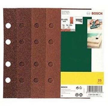 Bosch 2607019495 25 Fogli Orbitale, 93 x 185, 8 Fori Grana 40-120