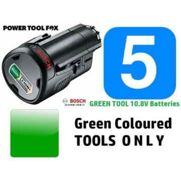 5 GENUINE BOSCH 10.8V 2.0a BATTERIES Green Tool ONLY 1600A0049P 3165140808804