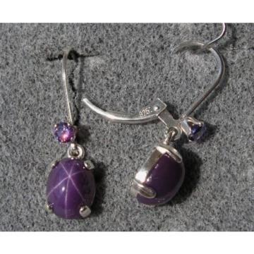 VINTAGE SIGNED PLUM PURPLE LINDE LINDY 9x7M STAR SAPPHIRE CREATED LB EARRINGS SS