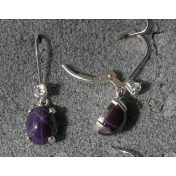 VINTAGE SIGNED LINDE LINDY 9x7M PLUM PURPLE STAR SAPPHIRE CREATED LB EARRINGS SS