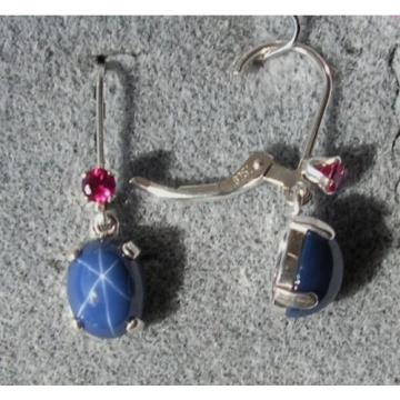 VINTAGE SIGNED LINDE LINDY 9x7MM CF BLUE STAR SAPPHIRE CREATED L BK EARRINGS S/S