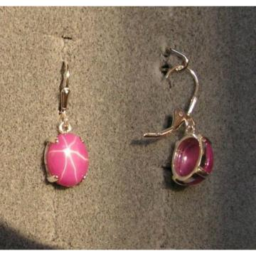 LINDE LINDY 9X7MM 4+CT PINK STAR RUBY CREATED SAPPHIRE 925 SS LBACK EARRINGS 2ND