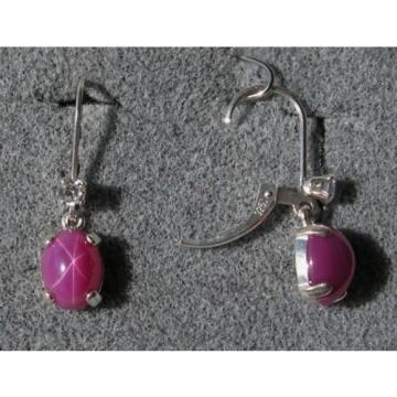 VINTAGE LINDE LINDY 9x7MM PINK STAR RUBY CREATED SAPPHIRE L BK EARRINGS .925 SS