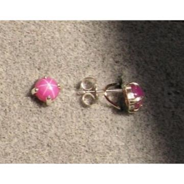 VINTAGE LINDE LINDY 5MM PINK STAR RUBY CREATED SAPPHIRE SET EAR PEND CHN SET SS