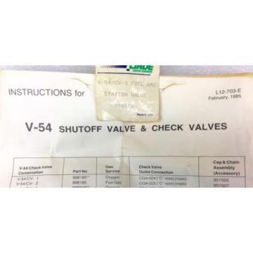 LINDE 998186 V-54/CV-2 FUEL GAS SHUT OFF VALVE NEW IN BOX
