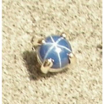 VINTAGE LINDE LINDY PETITE 5MM RD CF BLUE STAR SAPPHIRE CREATED STUD EARRING SS