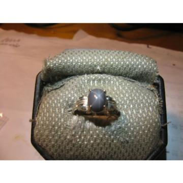 SIGNED RARE GRAY 9X7MM LINDE STAR SAPPHIRE RING 925 STERLING SILVER SIZE 7.75