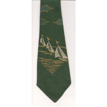 Tie, Linde California Forest Green Pale Yellow White HAND PAINTED Sailboats USA
