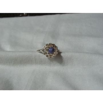 Sterling Silver Domed Filigree Top,Linde/Lindy Blue Star Sapphire Ring,Size 10.5