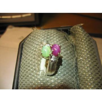 GEMINI 2 STONE LINDE STAR MINT/RED SAPPHIRE RING. .925 STERLING  SZ 6 & MORE