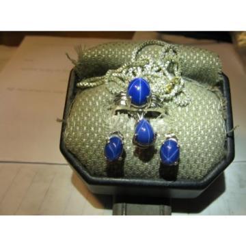 SIGNED CORNFLOWER BLUE LINDE STAR SAPPHIRE SET 925 STERLINGSILVER SIZE 5.75