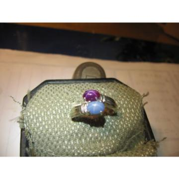 GEMINI AZURE/PURPLE LINDE STAR SAPPHIRE RING .925 STERLING SILV. SIZE 8.5 & MORE
