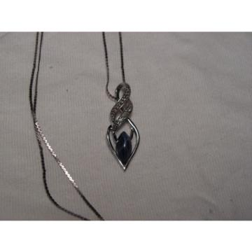 Sterling Silver,Accent Diamonds,Marquise Linde/Lindy Blue Star Sapphire Necklace