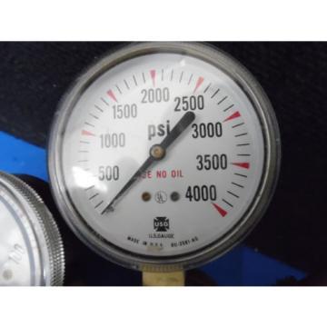 LINDE UNION CARBINE PRESSURE REGULATOR WITH U.S. GUAGES 0-100 TO 0-4000 PSI