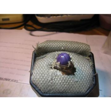 12MM PLUM LINDE STAR SAPPHIRE RING 925 STERLING SILVER SIZE 6.75