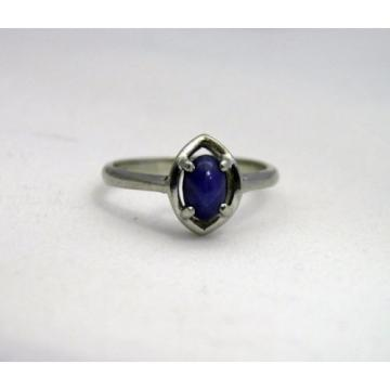 10K White Gold Linde Lindi Lindy Star Sapphire Blue Ring Sz 5 Signed ELBE 1.8g