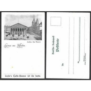 Old Germany Postcard - Gruss aus Aachen - Linde's Kaffe-Essenz, Coffee, Theatre