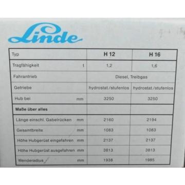 Linde Gabelstapler Modell H 16, Zinkguß, scale 1:24, neu + OVP