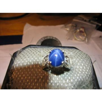 SIGNED 10X8MM DARK BLUE LINDE STAR SAPPHIRE RING 925 STERLING SILVER SIZE 5.5