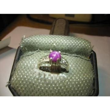 BURGUNDY LINDE STAR SAPPHIRE RING 8MM 2.5 CARAT .925 STERLING SILVER SIZE 7.5