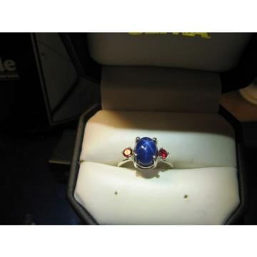 DARK BLUE LINDE STAR  RING WITH RUBY ACCENTS/SOLID STERLING SILVER #6.5