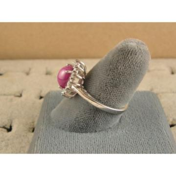VINTAGE SIGNED LINDE LINDY PINK STAR RUBY CREATED SAPPHIRE HALO RING RD PL .925