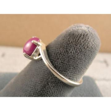 8X6mm 1.5+ CT LINDE LINDY PINK STAR SAPPHIRE CREATED RUBY SECOND RING .925 SS