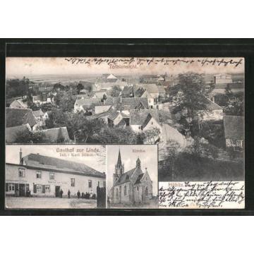 alte AK Hübitz, Gasthof zur Linde, Kirche, Ortspanorama