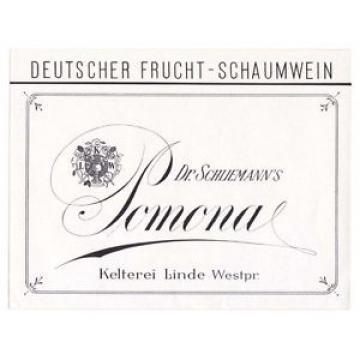 Linia - LINDE  Westpr.  Dr. Schliemann Frucht-Schaumwein Etikett label x0860