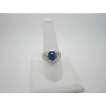 14K White Gold Diamond Linde Star Sapphire Cabochon Ring Size 8.75