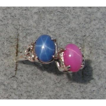 2 7X5 MM LINDE LINDY BLUE / PINK STAR SAPPHIRE CREATED RUBY SECOND RING .925 SS
