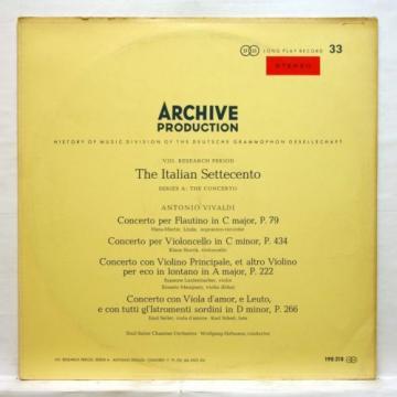EMIL SEILER, LINDE - VIVALDI the italian settecento ARCHIV SAPM Orig LP EX++