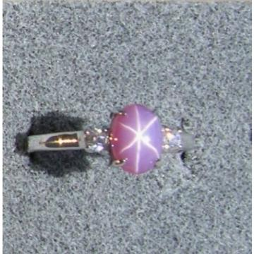 VINTAGE LINDE LINDY DUSKY ROSE STAR SAPPHIRE CREATED ACCENTD RING RD PLT .925 SS
